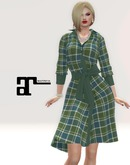 XK Maitreya Belted Dress Plaid Green