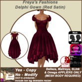 Freya's Fashions Delphi Cocktail Gown (Red Satin)