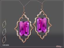 A N E Jewelry - Moroccan Gem Earrings FUCHSIA