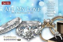 Wedding Rings by EarthStones - All My Love Mesh Wedding Ring Set (Bento)