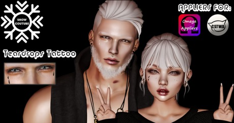 [Snow Couture] Teardrops Tattoo / TINTABLE / Catwa+Omega Appliers