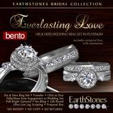 EarthStones Wedding Rings - Everlasting Love - Platinum (Bento)