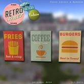 [Kres] Retro Diner Signs - Fries Coffee & Burgers