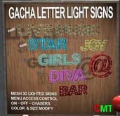 Letter Light Signs - BAR V1 - Flashing lighted sign