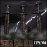 [Kres] Kattegat sword Statue - (weathered)
