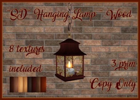 ~SD~ Hanging Lamp~ w/Color Options ~ Wood