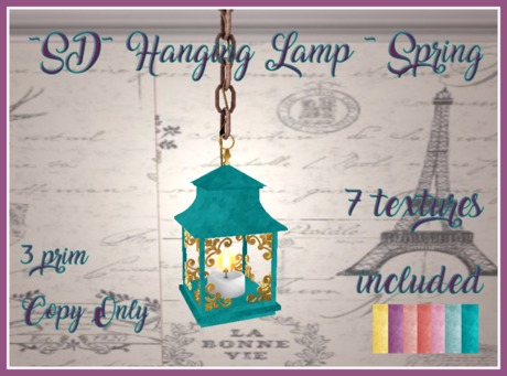 ~SD~ Hanging Lamp ~ w/Color Options ~ Spring