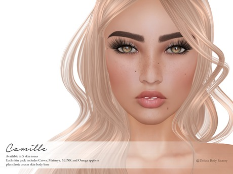 Deluxe Body Factory, Camille skin, Catwa, SLINK, Maitreya and Omega appliers, system skin, all skin tones, DEMOs