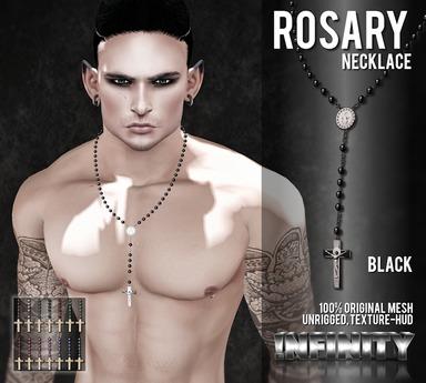 !NFINITY Rosary Necklace - Black