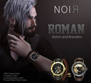 :::NOIR::: Roman Watch + Bracelet