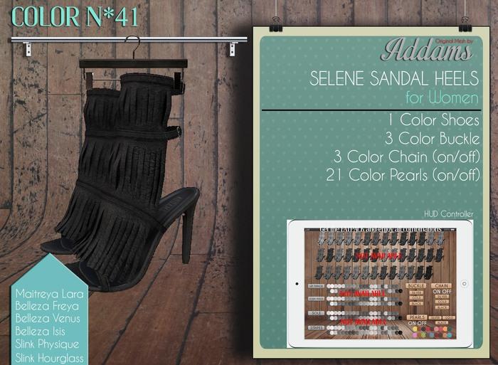 "Addams ""Selene"" Mesh Sandals Hell -Maitreya Belleza Slink- #41"