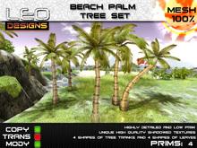 Beach palm tree set