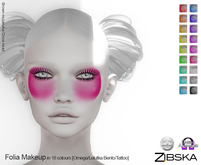 Zibska ~ Folia Makeup in 18 colors with Lelutka Bento applier, Omega applier and system tattoo layers