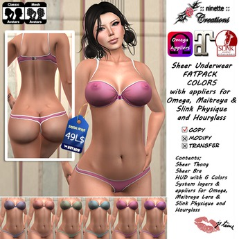 ::ninette creations:: Sheer Lingerie Fatpack Colors with appliers Omega Maitreya Slink Physique Hourglass