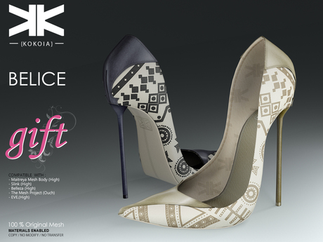 Belice Gift :: Woman Shoes :: Two Colors :: {kokoia} / for maitreya, belleza, slink, tmp and eve