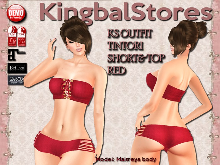 KS OUTFIT TINTORI SHORT&TOP RED