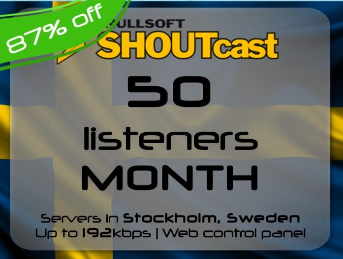 SHOUTcast stream server - 50 listeners - up to 192kbps - one month - Stockholm, Sweden (87% off)
