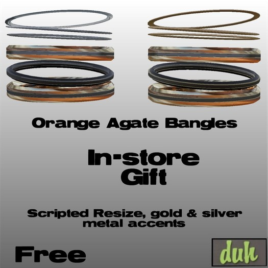 ::Duh!:: Orange Agate Bangle Set
