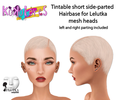 [KoKoLoReS]Tintable short sideparted Hairbase/ Lelutka bento