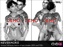 KARVED Unisex Tattoo - Nevermore (The Raven) - Classic Layers & Omega Appliers - Light and Dark Versions DEMO