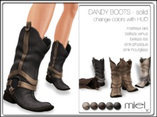 MIEL DANDY BOOTS - solid (FITTED MESH) Maitreya Lara, Belleza Venus & Isis, Slink Physique & Hourglass