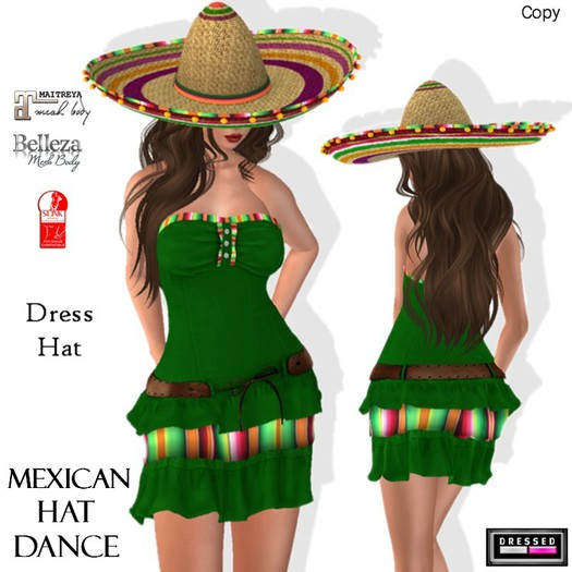 ::DBL:: Mexican Hat Dance Dress (Fitted/Slink/Belleza/Maitreya)