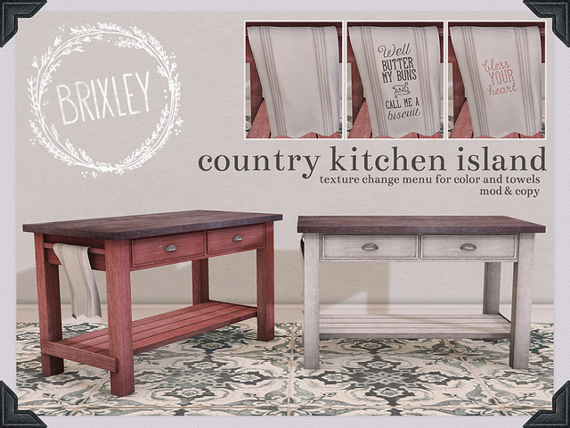 Second Life Marketplace Brixley Country Kitchen Island