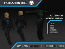 PsiNanna, Inc. Miliztracht Women's Uniform