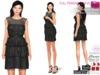Full Perm Shiny Satin Ruffled Formal Little Black Dress Slink, Maitreya, Belleza, Tonic, Fitmesh