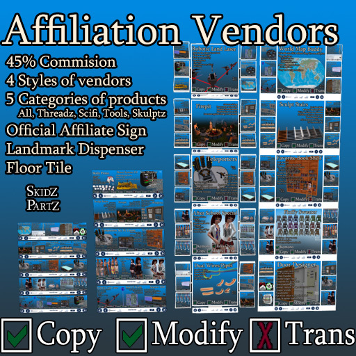 Skidz Partz - Affiliate Vendors V5.02 - Tools, Gadgets, Sculpties, Outdoors, Social Products, & Clothing