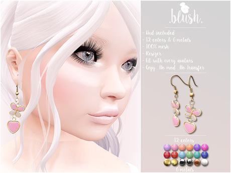 . BLUSH . Earrings Butterfly & Heart