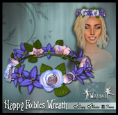 "[Wishbox] ""Happy Foibles"" Hair Wreath of Sculpted Roses and Lilies (Purple) Medieval Fantasy"