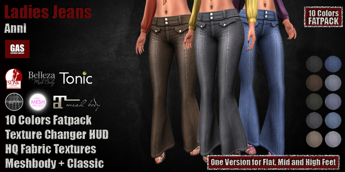 GAS [Ladies Flared Jeans - All 10 Colors w/HUD FATPACK]