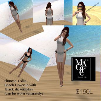 Fittmesh Bikini & Beach coverup with sunglasses