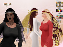 [SuXue Mesh] FATPACK Circlet Veil Purdah Sun - For Bridesmaid and Bride - Hud 57 Textures included - Resize