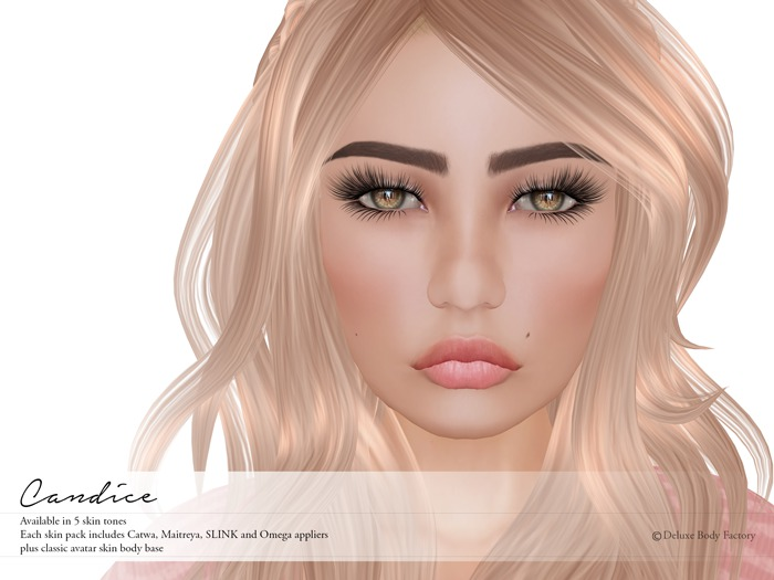 Deluxe Body Factory, Candice skin, Catwa, SLINK and Maitreya appliers, all skin tones, DEMOs