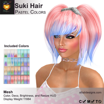 A&A Suki Hair Pastel Colors Pack. Womens Mesh Pigtails