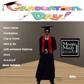 Men's Mesh Graduation Cap & Gown with Diploma set-Box