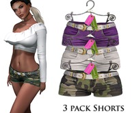 Eyelure Baby Denim Shorts  3 Pack!   Violet,Camo,White