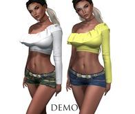 Eyelure DEMO  Ruffle Top & Baby Denim Shorts