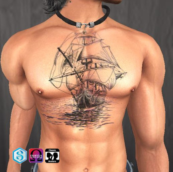 Second Life Marketplace Tattoo Bateau Boat Poitrine