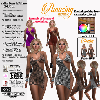 AmAzINg CrEaTiOnS 2 Mini Dress & Fishnet (DRA)-04-Tintable