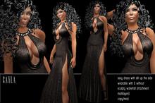 BD-Cayla black glitter sparkle gown evening dance ball dress sculpty waterfall collar sexy