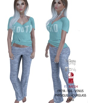 Eyelure OOTD Outfit  Mint/Grey  Belleza,Maitreya,Slink,Fitmesh