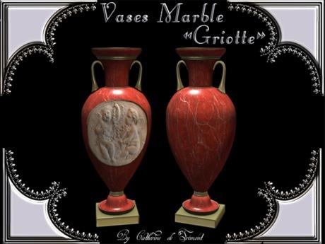 """""""CdT"""" Vases """"Griotte"""" Marble"""