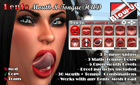 ✪Blow-Up✪ Bento Open Mouth & Tongue HUD V1.2