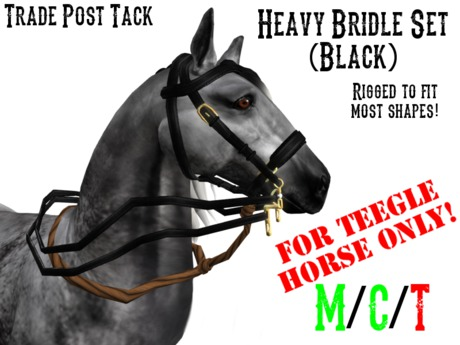 *TPT* Heavy Bridle Set Black for Teegle Horse (Halter Included!)