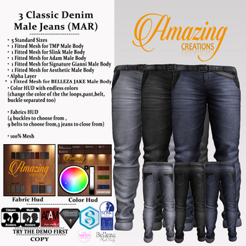 AmAzInNg CrEaTiOnS 3 Classic Denim Male Jeans (MAR) Promo price!