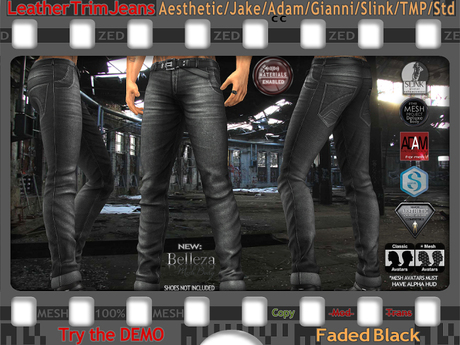 FULL - ZED MESH MATERIALS ENABLED: Leather Trim Faded Black Jeans for TMP/Jake/Slink/Aesthitic/Adam/Gianni/+5 Std