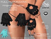 Full Perm-ZAFIA Fingerless Leather Gloves-Maitreya BENTO